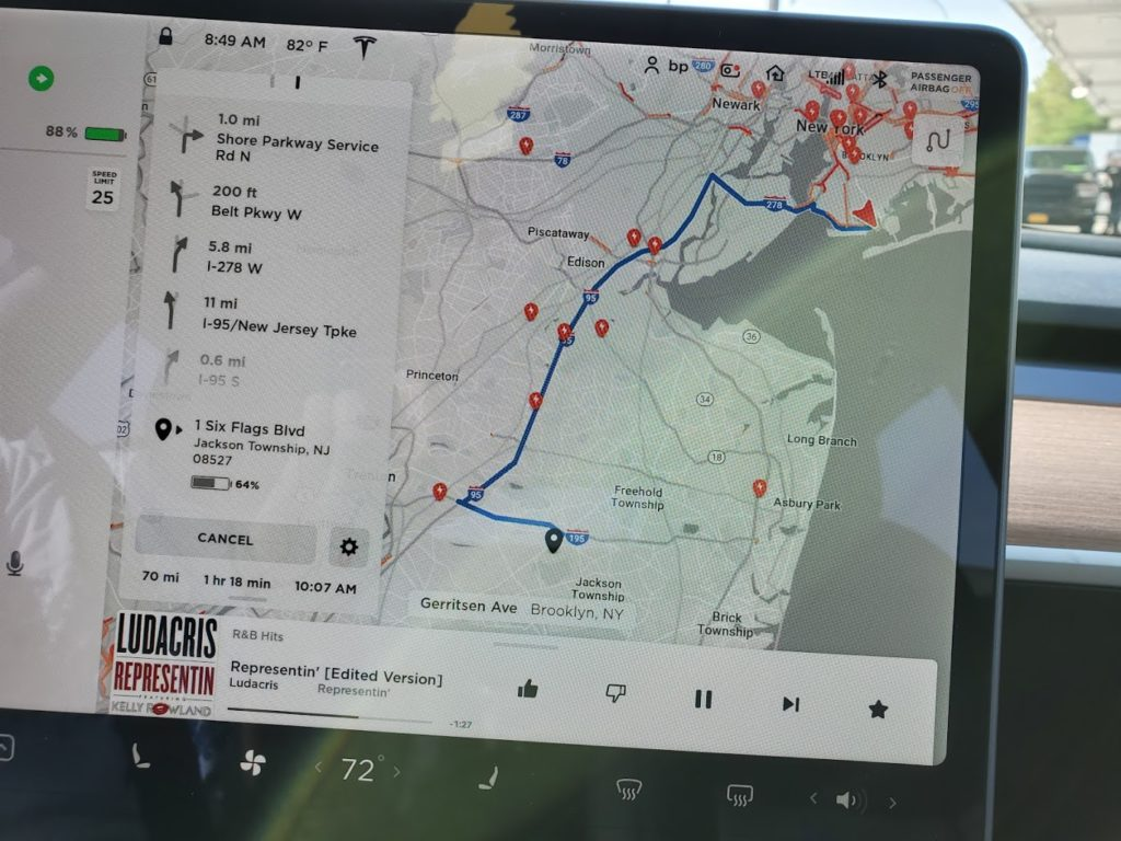 Tesla Navigation to Six Flags