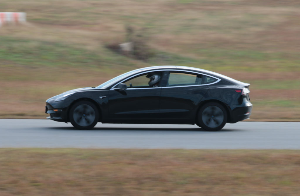 Tesla McTeslaface on the track at Tesla Fest East 2019